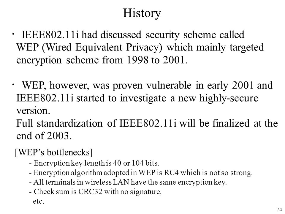 History ・IEEE802.11i had discussed security scheme called