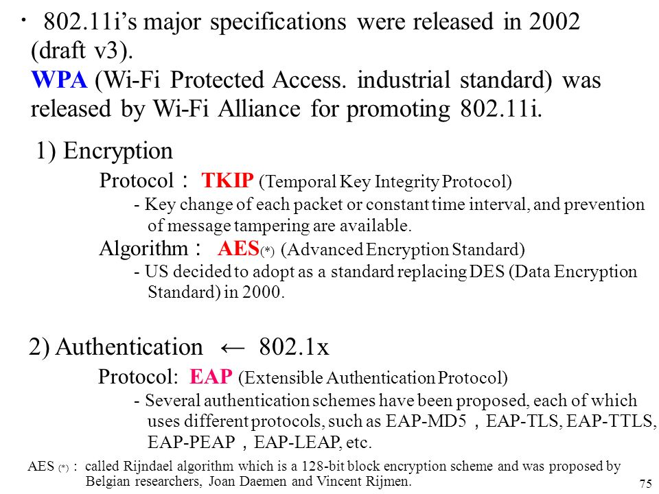 ・802.11i's major specifications were released in 2002 (draft v3).