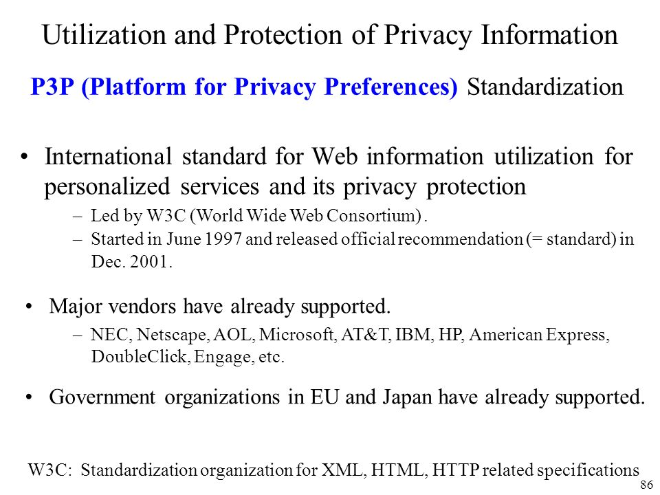 P3P (Platform for Privacy Preferences) Standardization