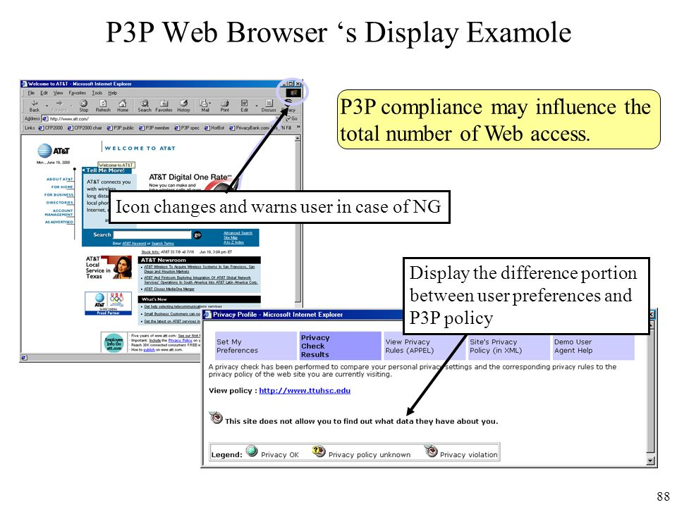 P3P Web Browser 's Display Examole