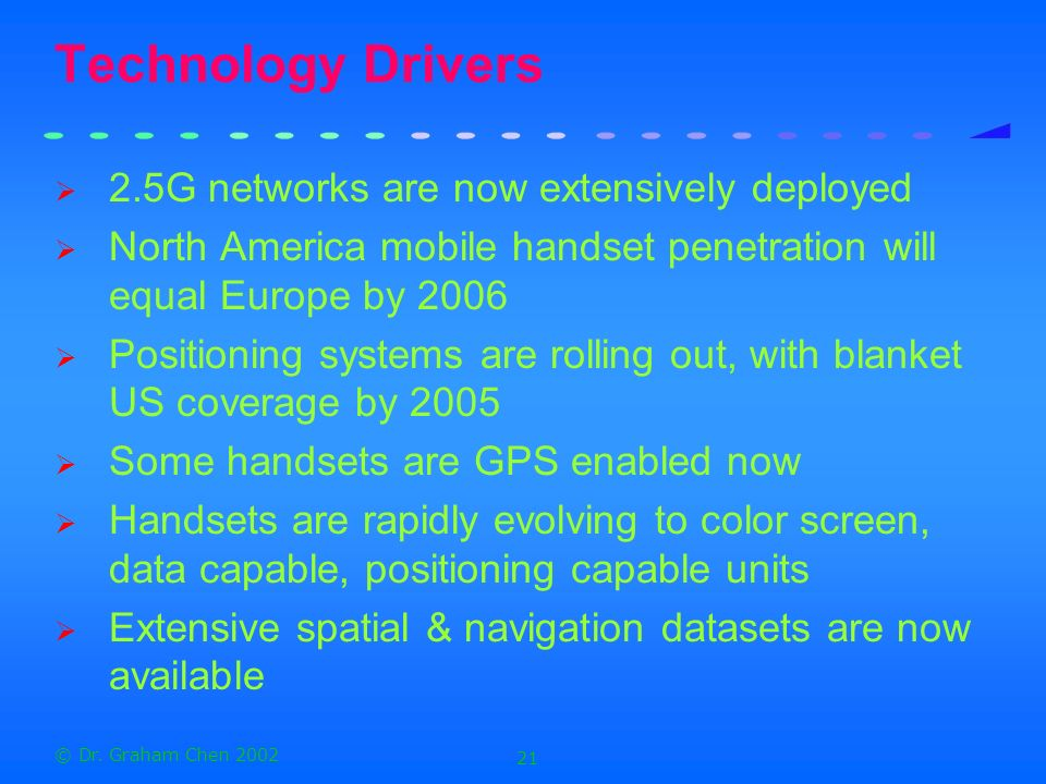 Technology Drivers 2.5G networks are now extensively deployed