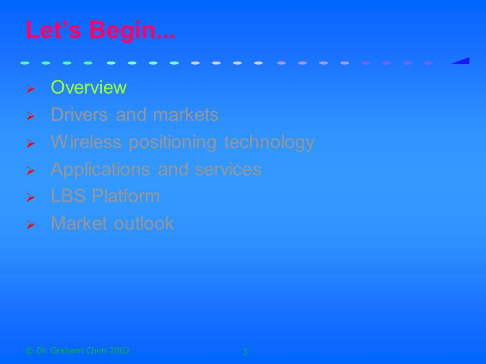 Let's Begin... Overview Drivers and markets