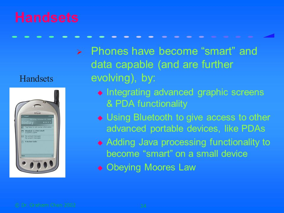Handsets Phones have become smart and data capable (and are further evolving), by: Integrating advanced graphic screens & PDA functionality.