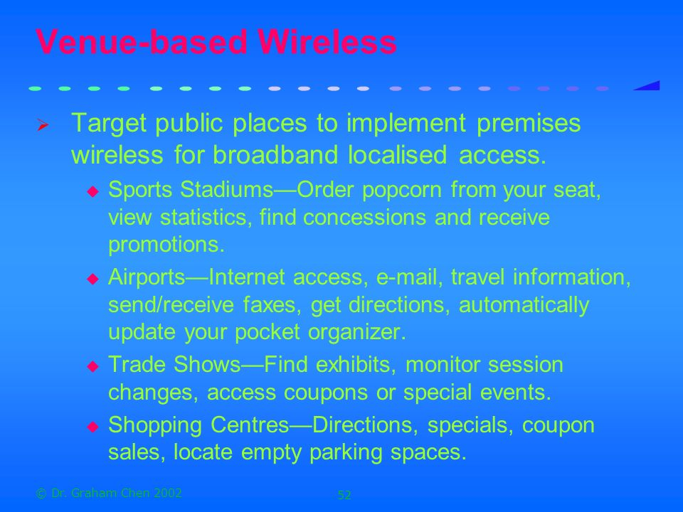 Venue-based Wireless Target public places to implement premises wireless for broadband localised access.