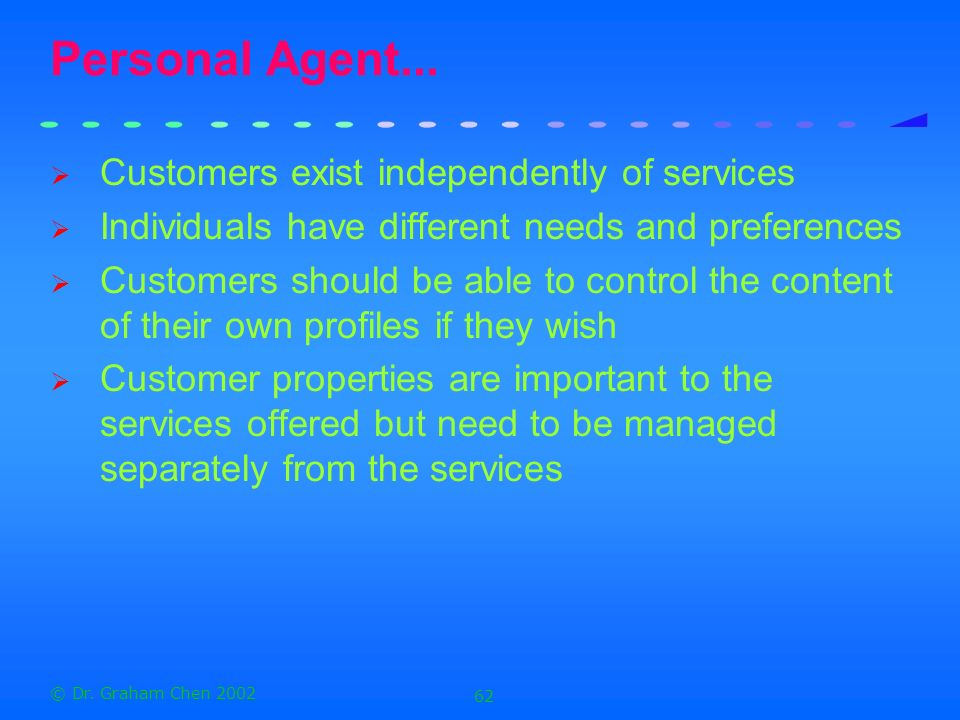 Personal Agent... Customers exist independently of services