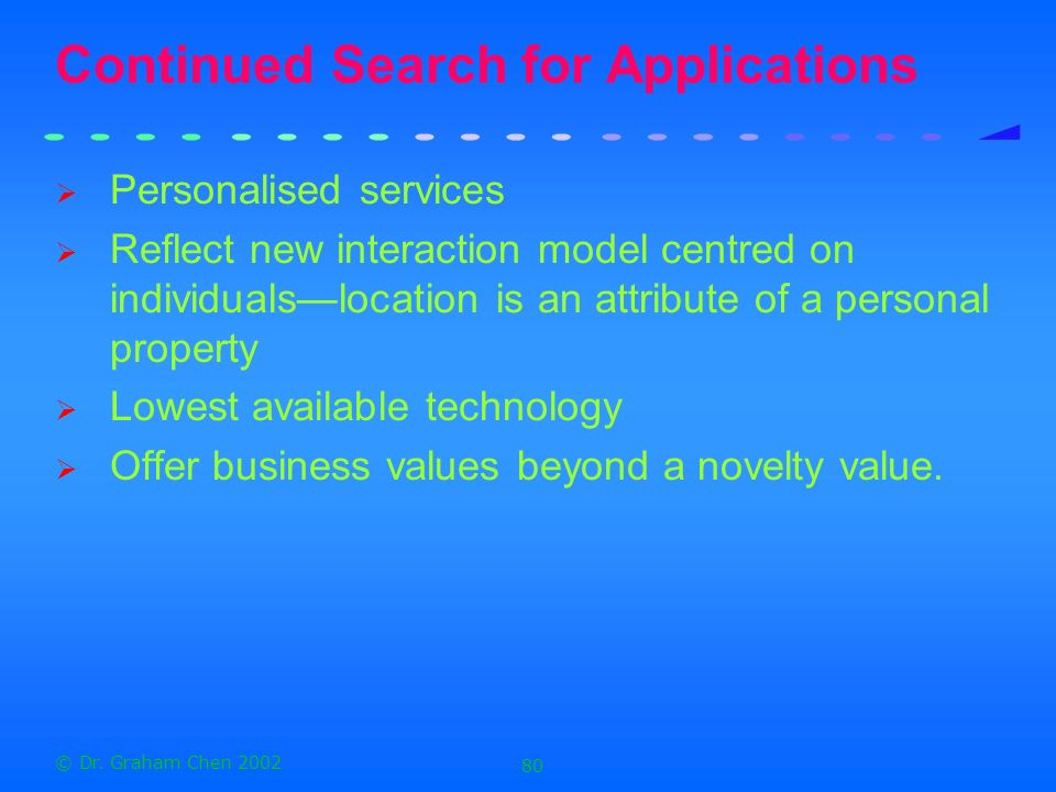 Continued Search for Applications