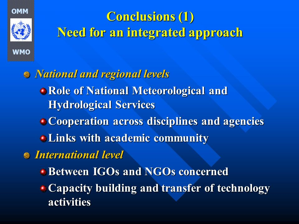 Conclusions (1) Need for an integrated approach