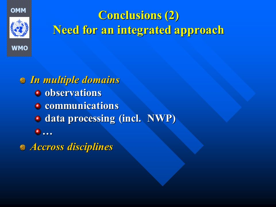 Conclusions (2) Need for an integrated approach