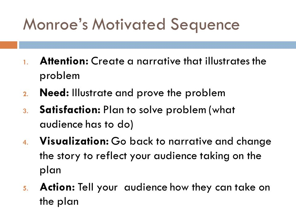 monroe's motivated sequence speech eating breakfast Breakfast & lunch menus (this is also called the problem step and is your first main point of your speech) (step 1 of monroe's motivated sequence.