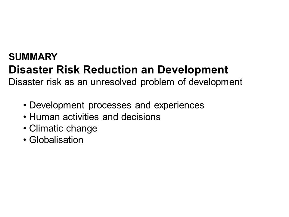 Disaster Risk Reduction an Development