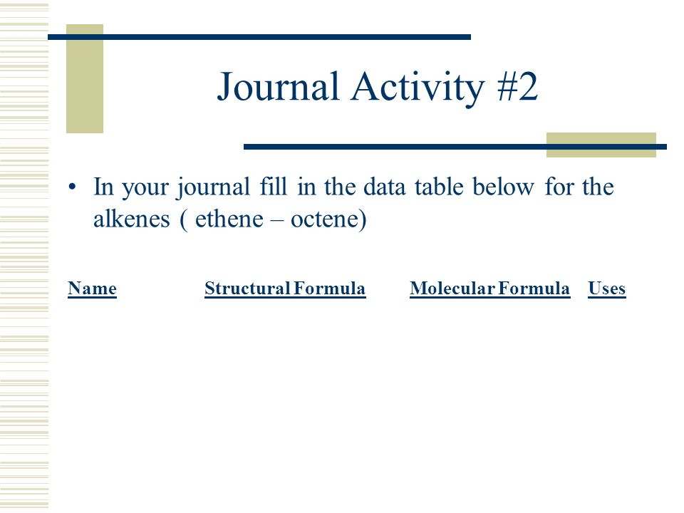 Journal Activity #2 In your journal fill in the data table below for the alkenes ( ethene – octene)