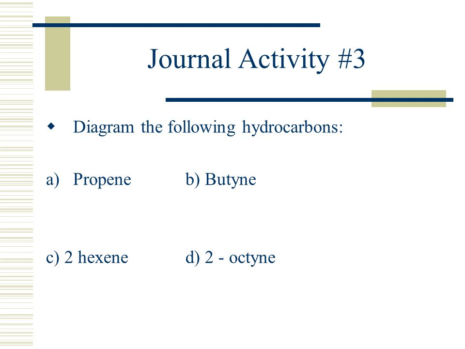 Journal Activity #3 Diagram the following hydrocarbons: