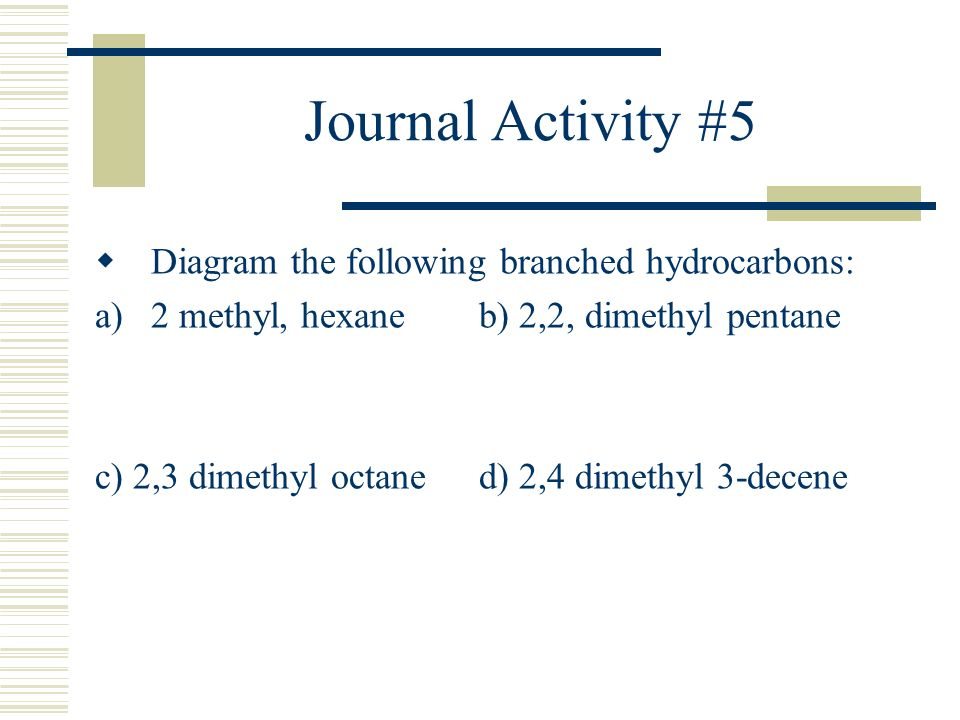 Journal Activity #5 Diagram the following branched hydrocarbons: