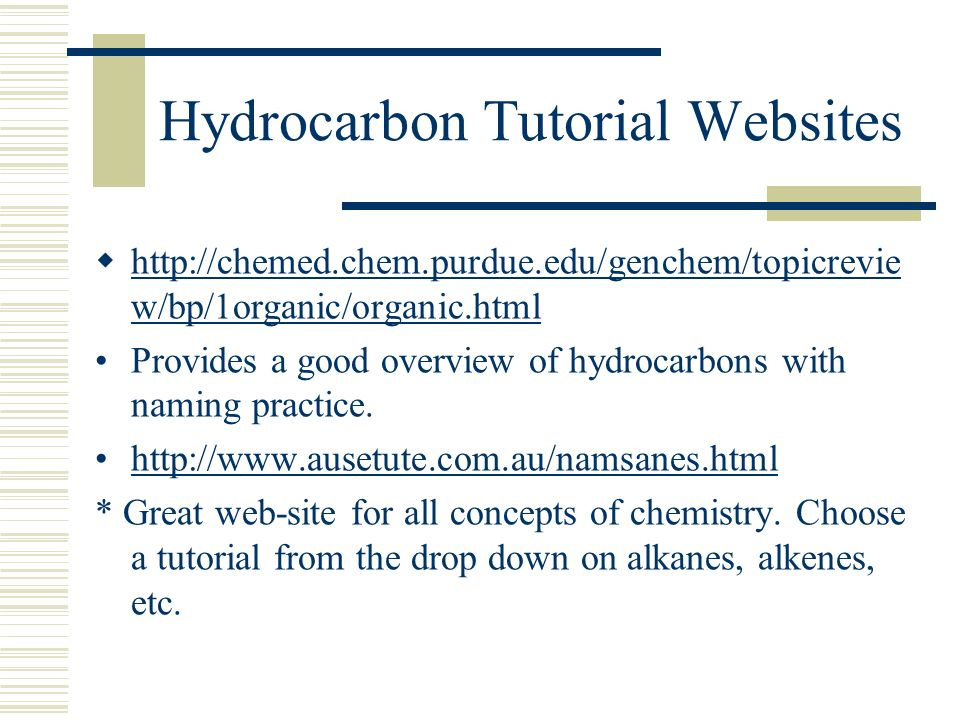 Hydrocarbon Tutorial Websites