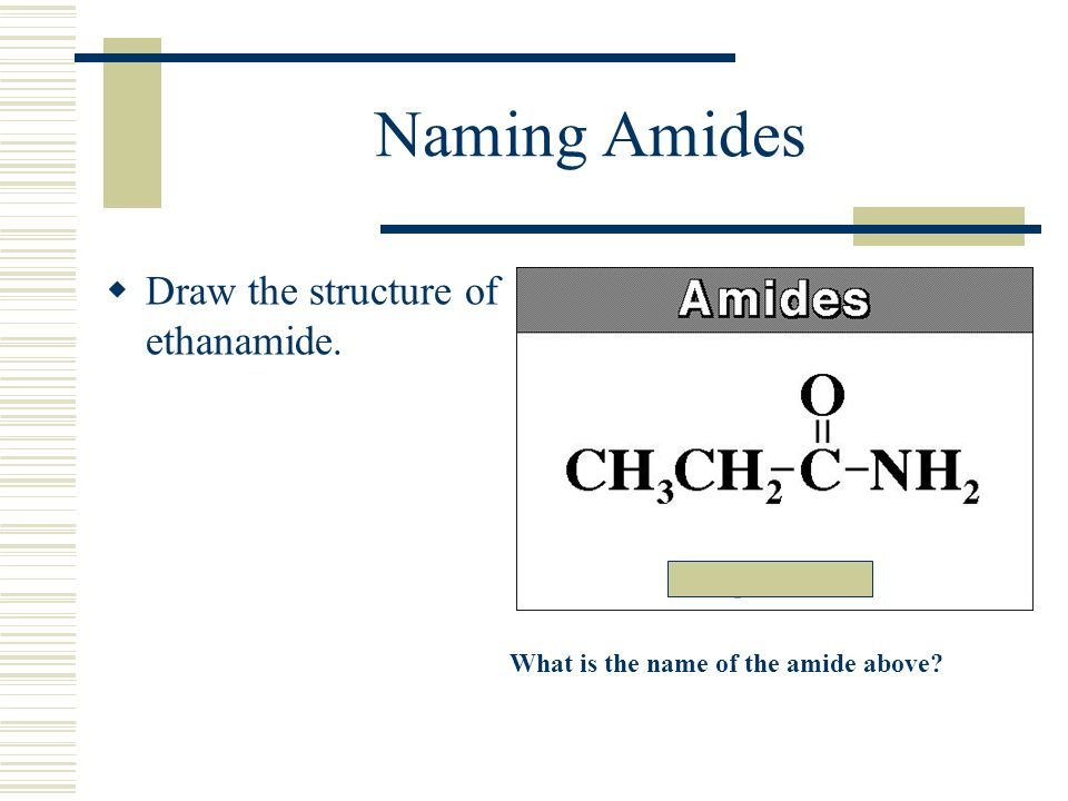 Naming Amides Draw the structure of ethanamide.