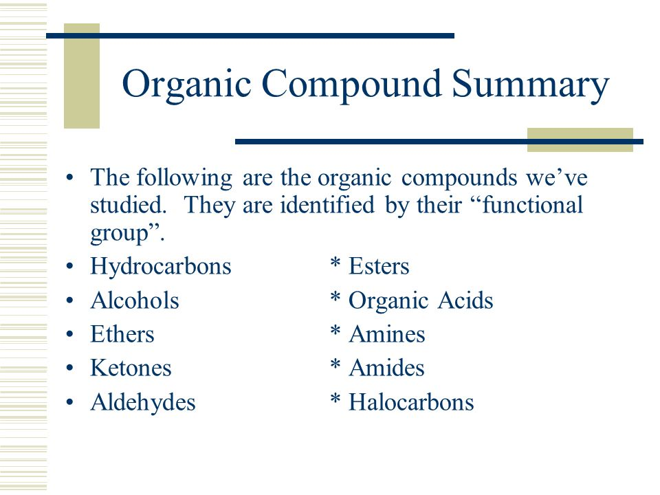 Organic Compound Summary