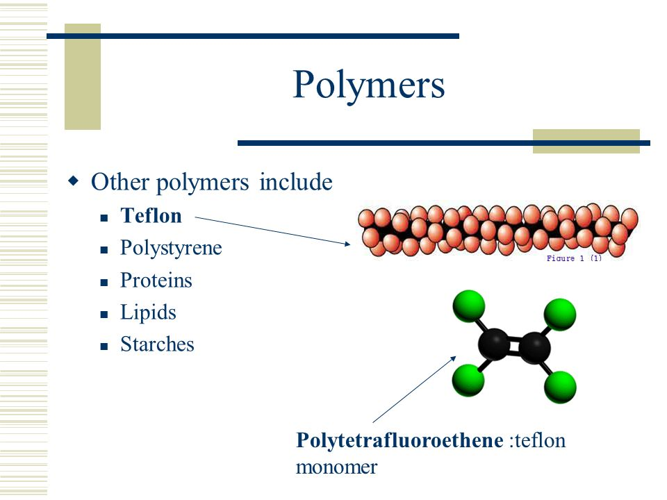 Polymers Other polymers include Teflon Polystyrene Proteins Lipids