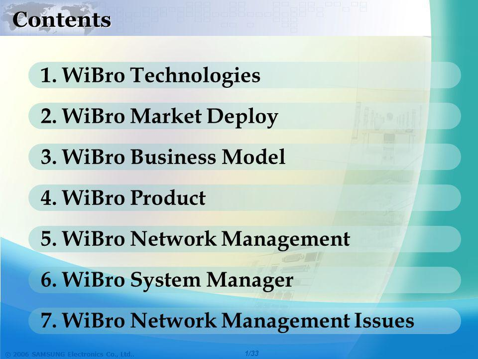 Contents 1. WiBro Technologies. 2. WiBro Market Deploy. 3. WiBro Business Model. 4. WiBro Product.