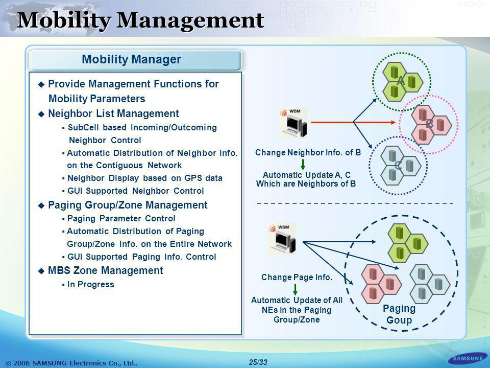 Mobility Management Mobility Manager A B C