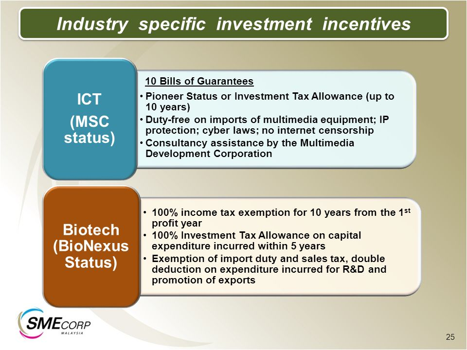Industry specific investment incentives