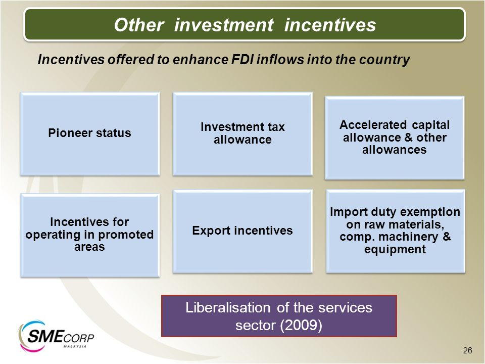 Other investment incentives