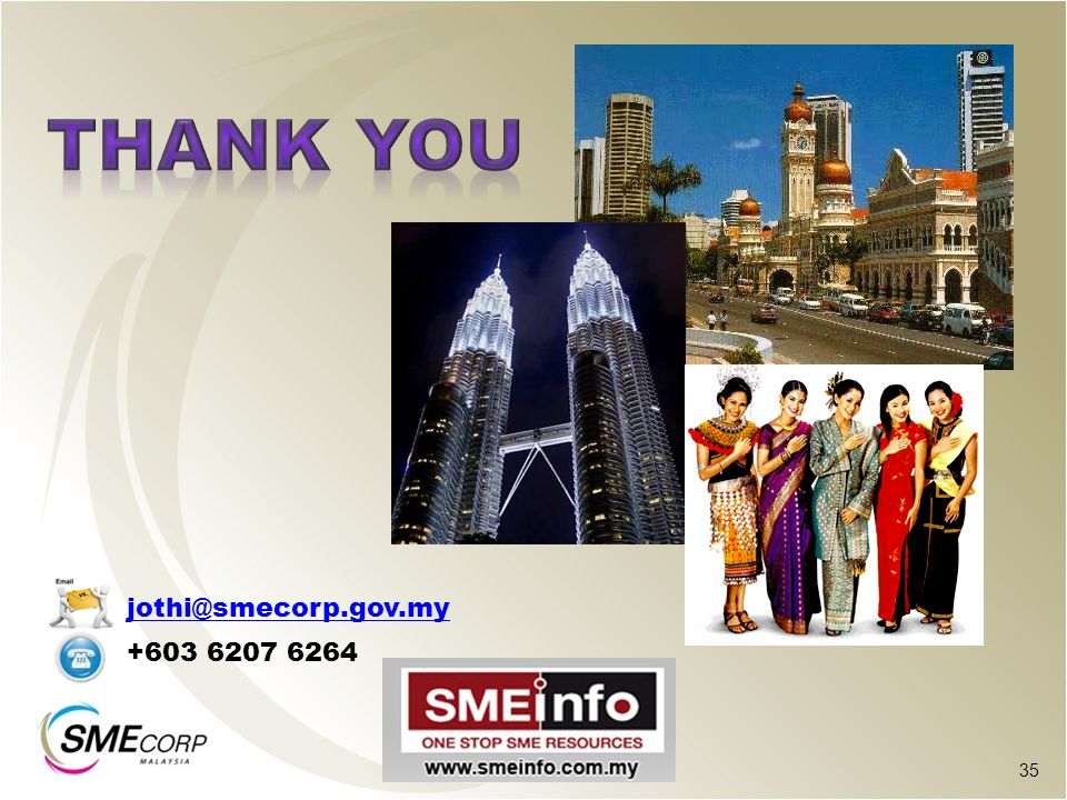 THANK YOU jothi@smecorp.gov.my +603 6207 6264 35