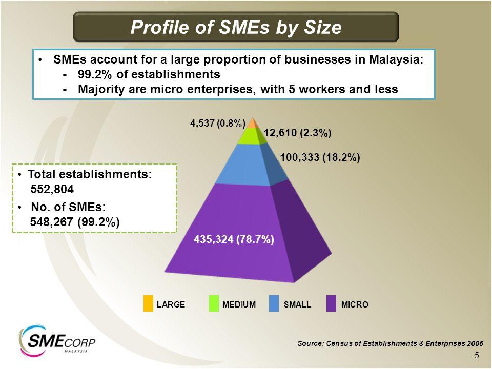 435,324 (78.7%) 100,333 (18.2%) 12,610 (2.3%) 4,537 (0.8%) Source: Census of Establishments & Enterprises 2005.