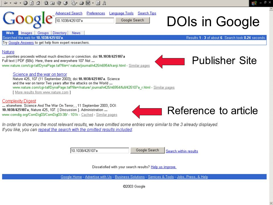 DOIs in Google Publisher Site Reference to article