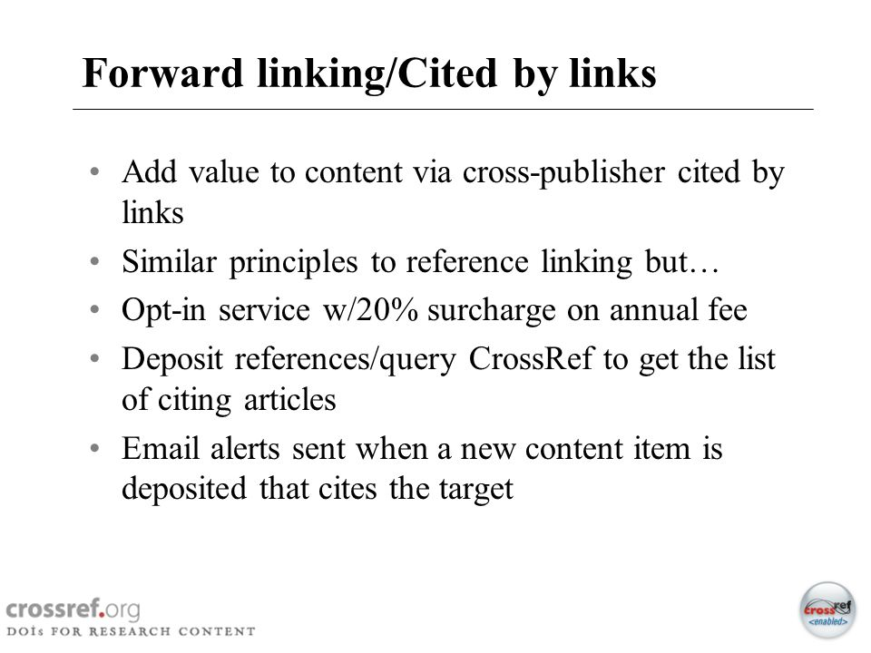 Forward linking/Cited by links