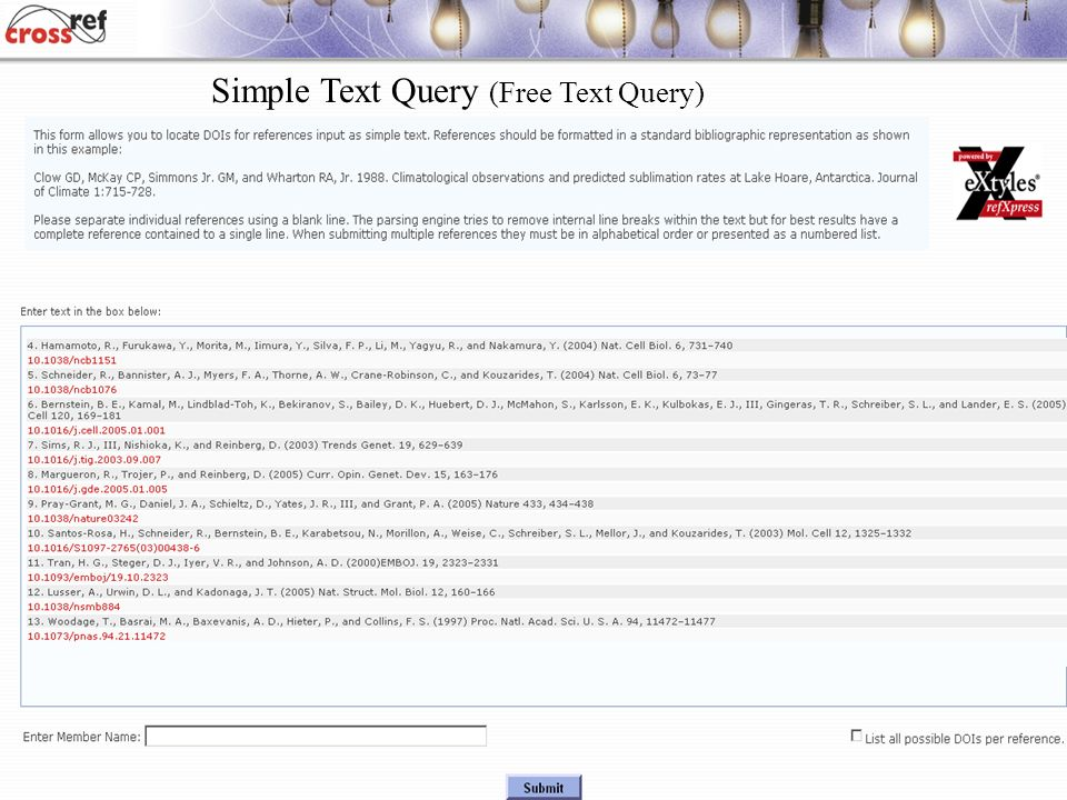 Simple Text Query (Free Text Query)