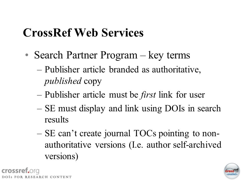 CrossRef Web Services Search Partner Program – key terms