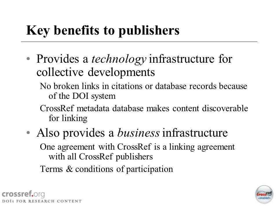 Key benefits to publishers