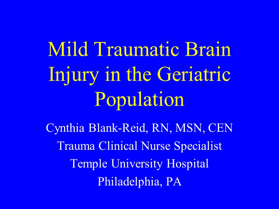 Mild Traumatic Brain Injury in the Geriatric Population