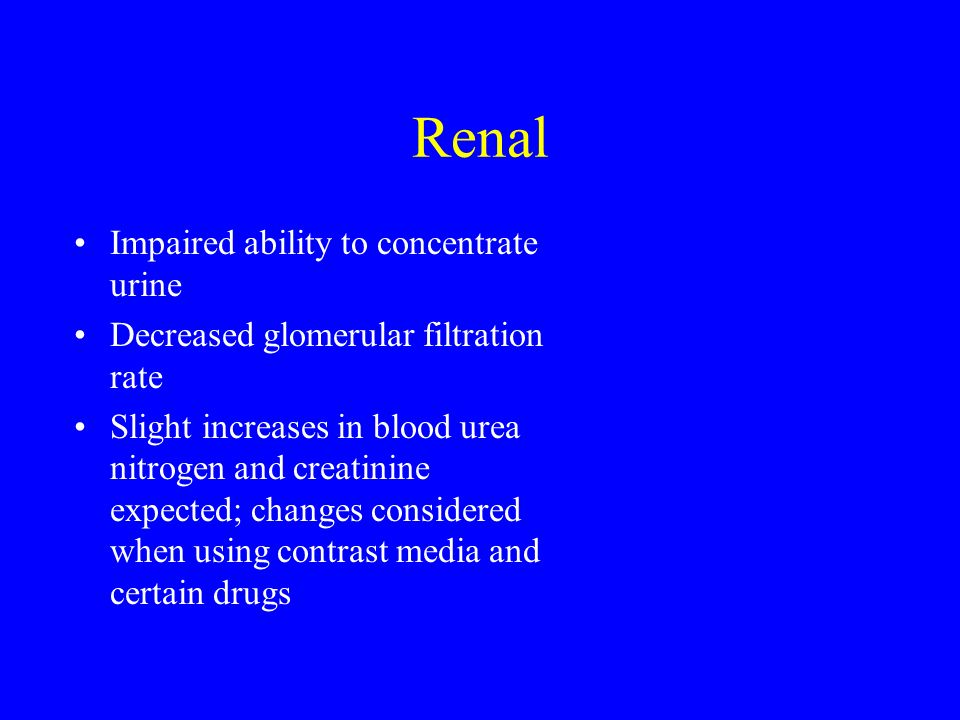 Renal Impaired ability to concentrate urine