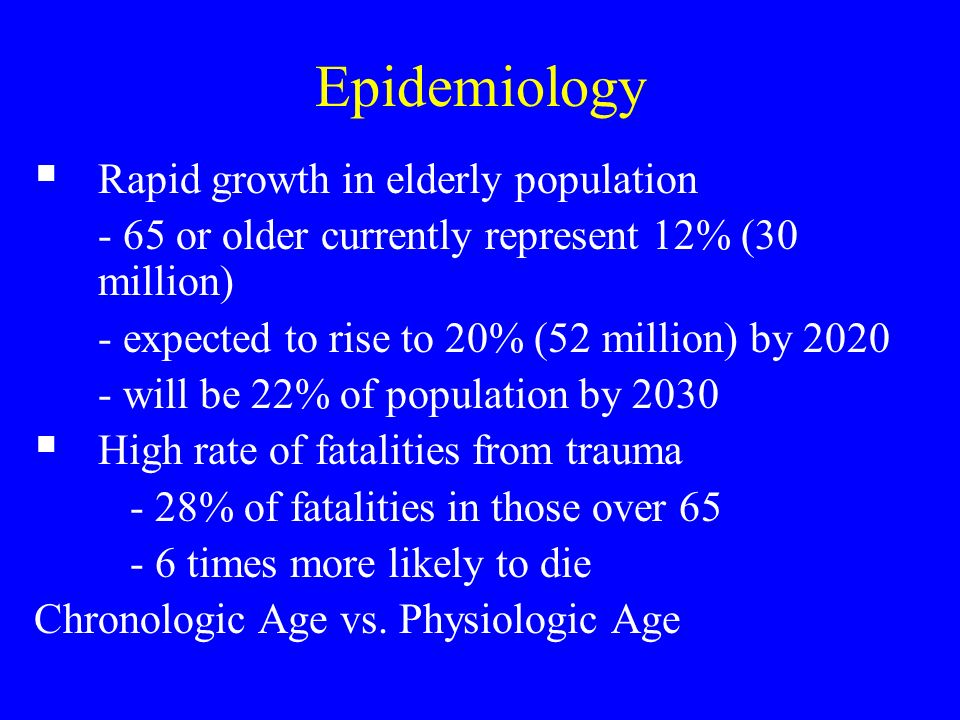 Epidemiology Rapid growth in elderly population