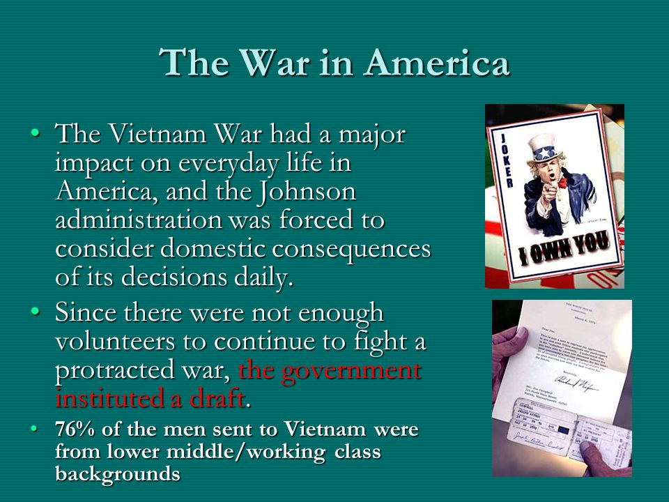 an analysis of the impact of the vietnam war on the people of america The war in vietnam wasn't about two separate countries for the vietnamese, this was a war about one country with two warring factions, and the weaker of those two had essentially been created and certainly bolstered by the us.