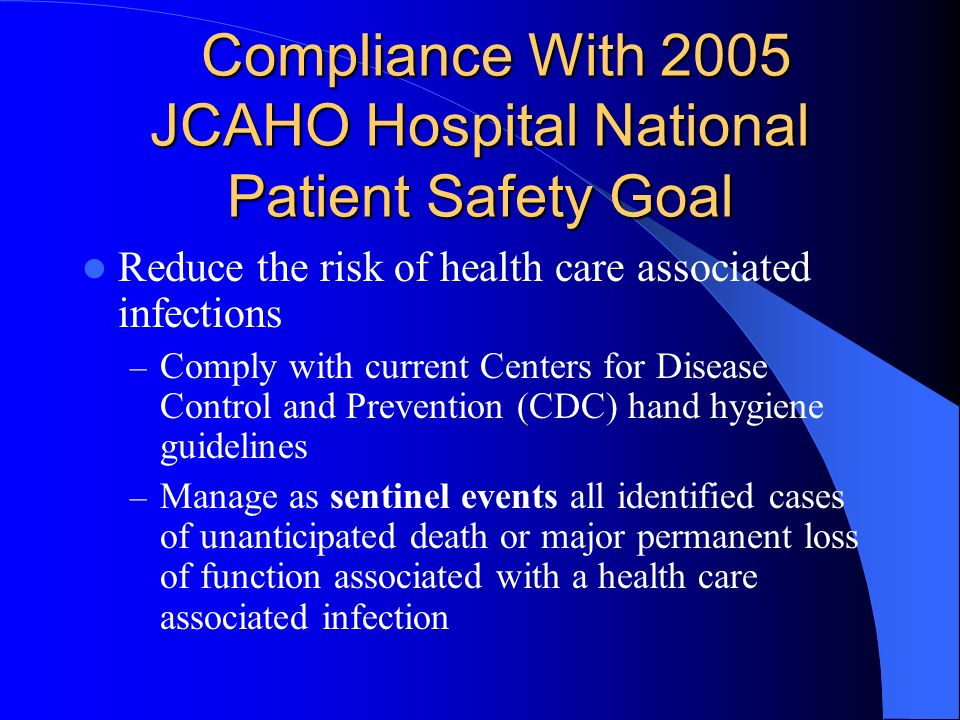 Compliance With 2005 JCAHO Hospital National Patient Safety Goal