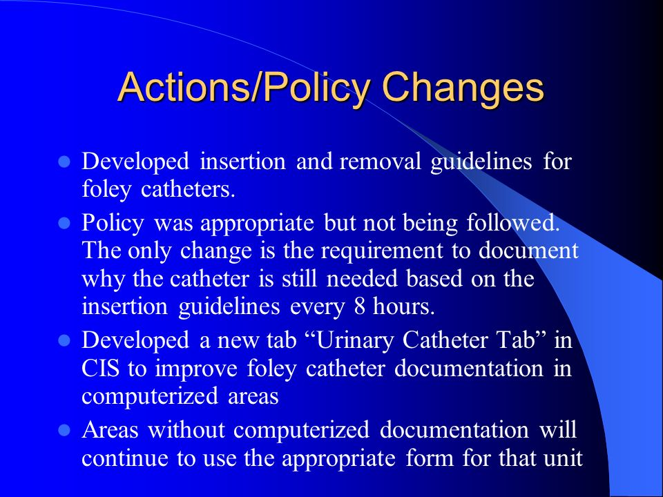Actions/Policy Changes