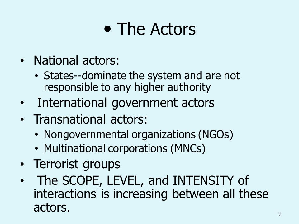 transnational actors and international organizations in To start with, transnational actors, including international governmental and  nongovernmental organizations, corporations, foundations, and activist networks, .