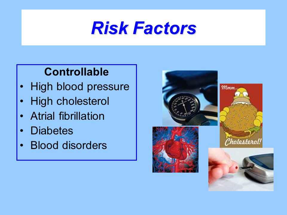 Risk Factors Controllable High blood pressure High cholesterol