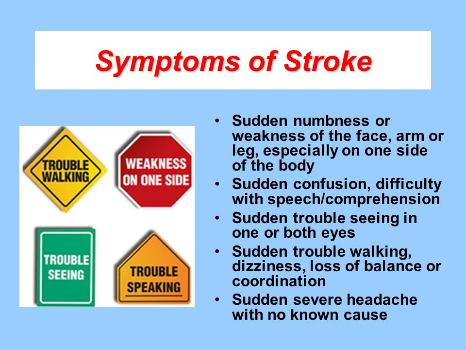 Symptoms of Stroke Sudden numbness or weakness of the face, arm or leg, especially on one side of the body.