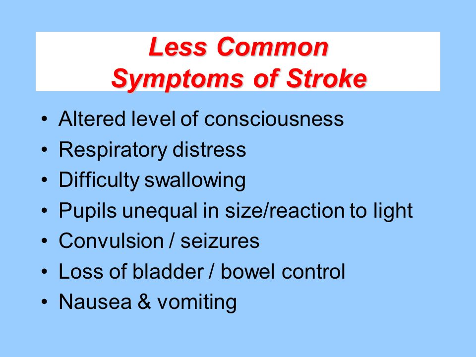 Less Common Symptoms of Stroke