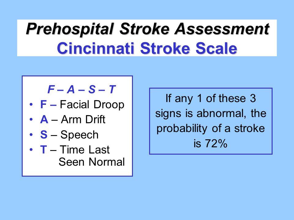 Prehospital Stroke Assessment Cincinnati Stroke Scale