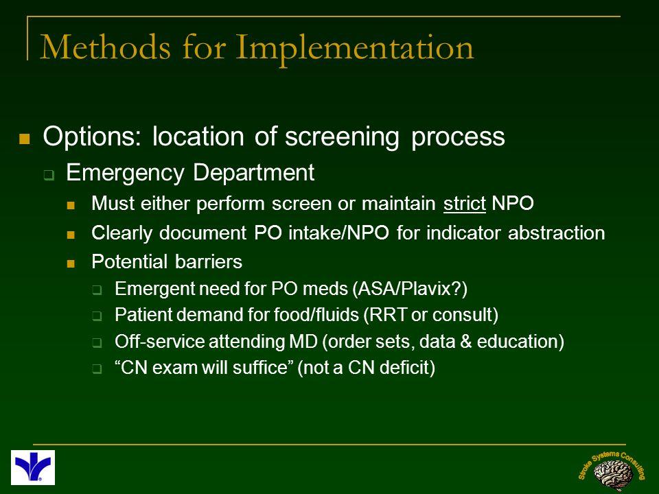 Methods for Implementation