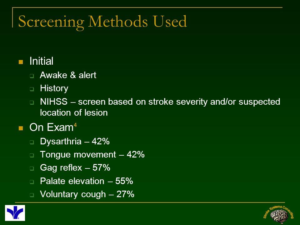Screening Methods Used