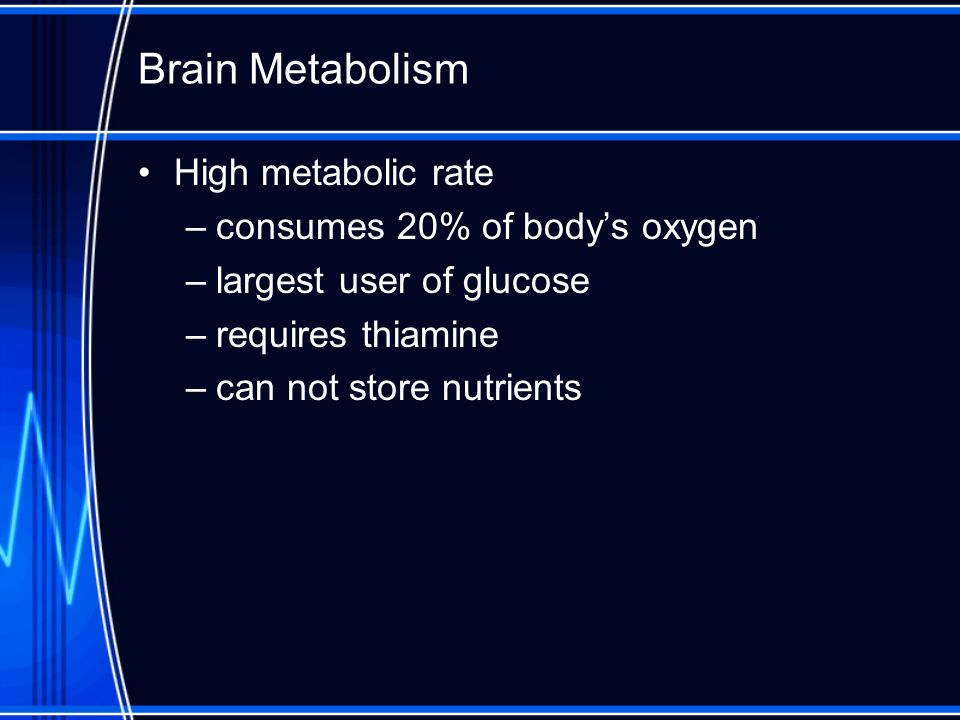 Brain Metabolism High metabolic rate consumes 20% of body's oxygen