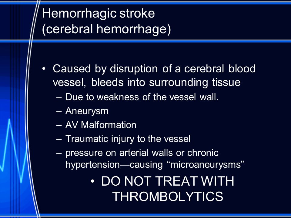 Hemorrhagic stroke (cerebral hemorrhage)