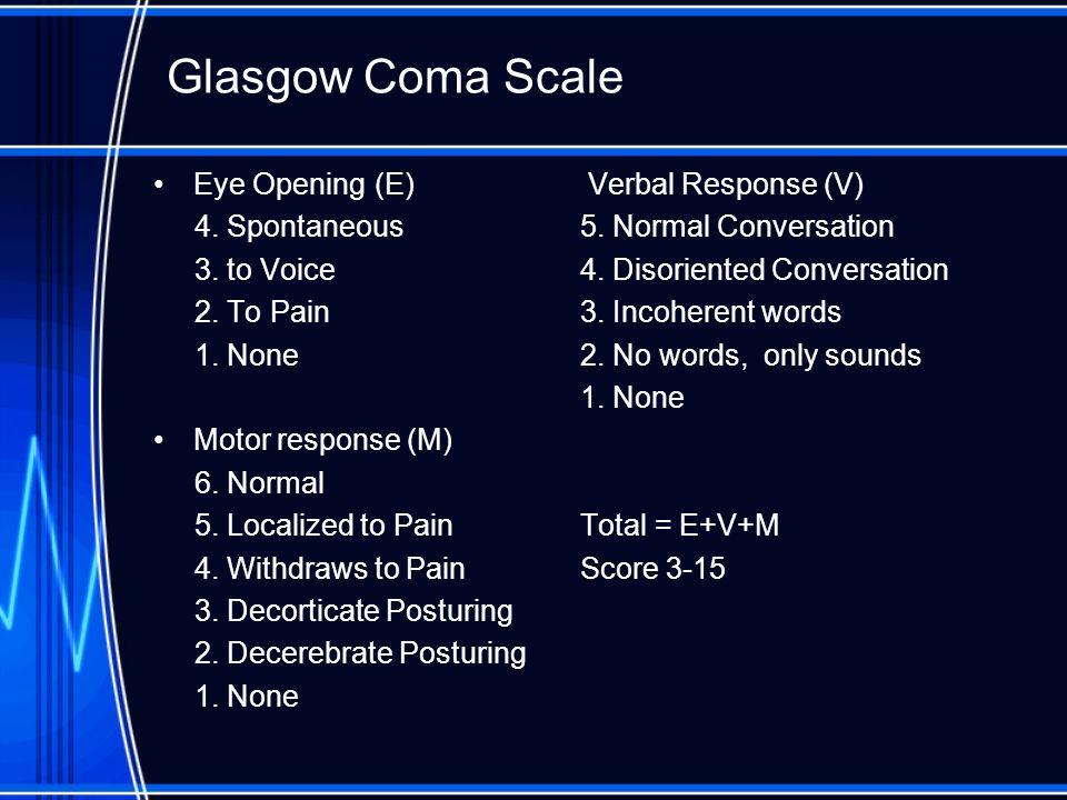 Glasgow Coma Scale Eye Opening (E) Verbal Response (V)