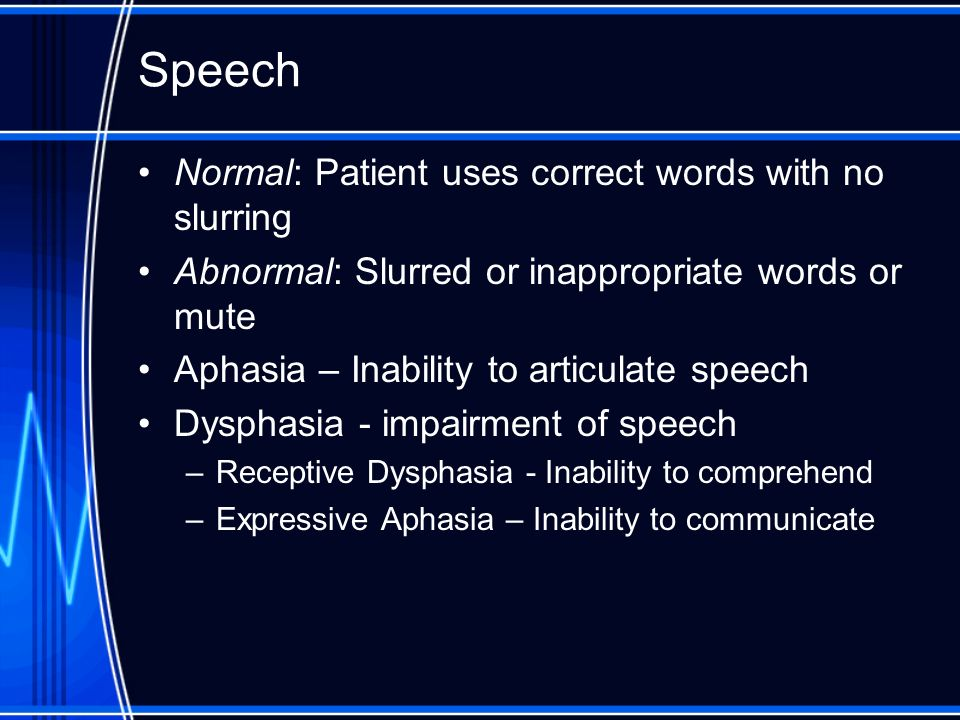 Speech Normal: Patient uses correct words with no slurring