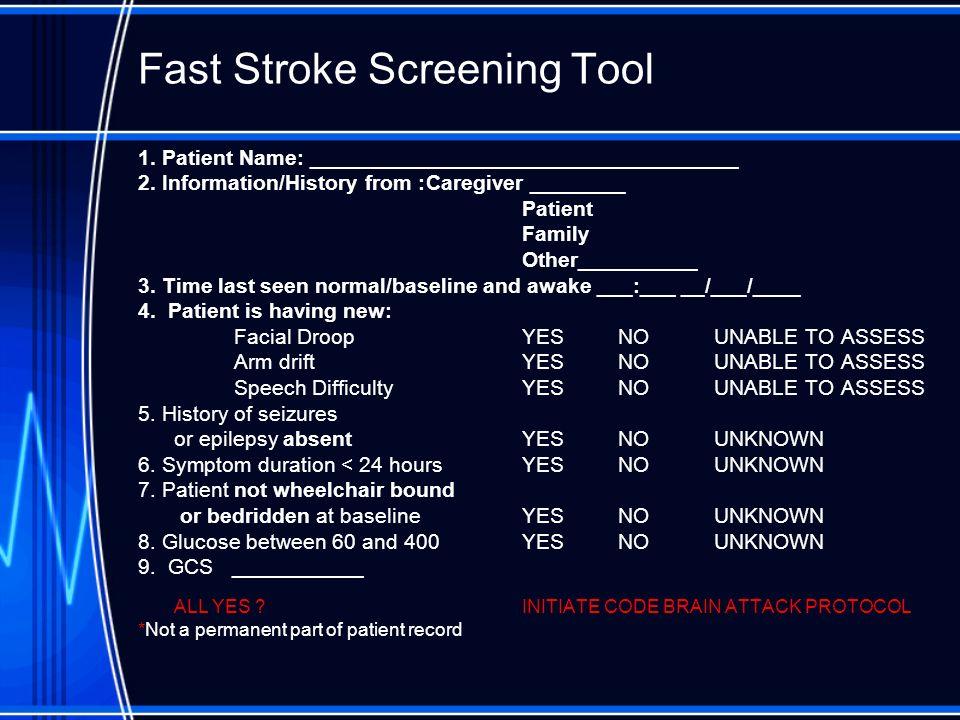 Fast Stroke Screening Tool